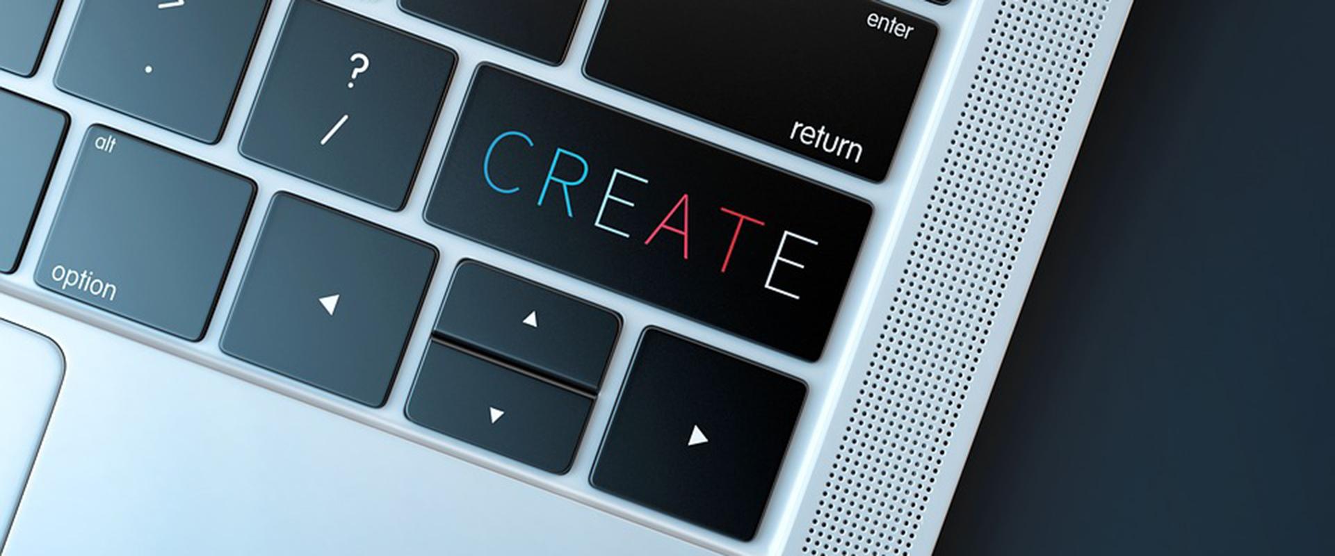 """clavier d'ordinateur avec une touche """"create"""""""