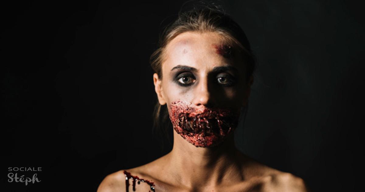 Femme avec le visage ensanglanté d'une morte vivante, elle représente la fin du monde