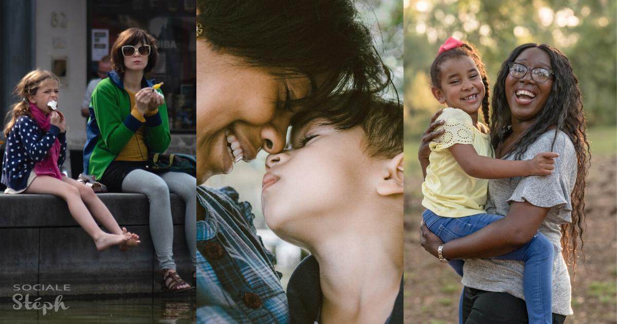 mosaïque trois photos de mère avec son enfant de huit ans