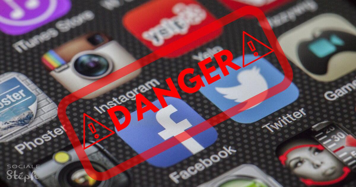 Image des logos des réseaux sociaux avec une étampe de danger dessus